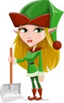 Female Christmas Elf Cartoon Vector Character - Cleaning the Snow