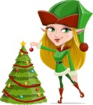 Female Christmas Elf Cartoon Vector Character - Decorating Christmas Tree