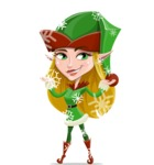 Female Christmas Elf Cartoon Vector Character - Enjoying the Snowing