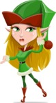 Female Christmas Elf Cartoon Vector Character - Feeling Confused