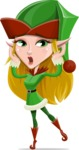 Female Christmas Elf Cartoon Vector Character - Feeling Shocked