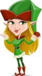 Female Christmas Elf Cartoon Vector Character - Feeling Sorry