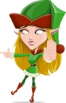 Female Christmas Elf Cartoon Vector Character - Finger Pointing with Angry Face