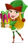 Female Christmas Elf Cartoon Vector Character - Giving Christmas Presents