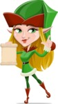 Female Christmas Elf Cartoon Vector Character - Holding a Blank Scroll