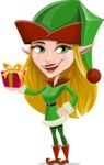 Female Christmas Elf Cartoon Vector Character - Holding a Gift