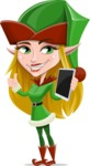 Female Christmas Elf Cartoon Vector Character - Holding a New Tablet