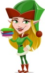 Female Christmas Elf Cartoon Vector Character - Holding Books