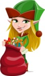 Female Christmas Elf Cartoon Vector Character - Holding Christmas Sack with Gifts