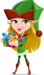Female Christmas Elf Cartoon Vector Character - Holding Presents