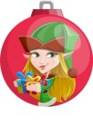 Female Christmas Elf Cartoon Vector Character - Illustration Concept with Christmas Ball