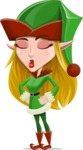 Female Christmas Elf Cartoon Vector Character - Making a Funny Face