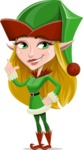 Female Christmas Elf Cartoon Vector Character - Making a Point