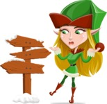 Female Christmas Elf Cartoon Vector Character - Making a Presentation on a Christmas Board