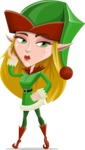 Female Christmas Elf Cartoon Vector Character - Making a Selfie