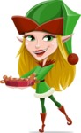 Female Christmas Elf Cartoon Vector Character - Making Cookies for Christmas