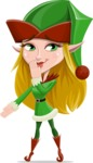 Female Christmas Elf Cartoon Vector Character - Making Oops Gesture