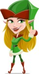 Female Christmas Elf Cartoon Vector Character - Making Thumbs Up