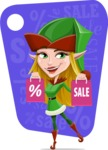 Female Christmas Elf Cartoon Vector Character - On a Christmas Sale With Shopping Bags Illustration