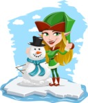 Female Christmas Elf Cartoon Vector Character - On an Iceberg with Snowman Illustration