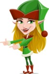 Female Christmas Elf Cartoon Vector Character - Pointing with Hands