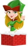 Female Christmas Elf Cartoon Vector Character - Popping out of a Chimney