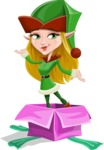 Female Christmas Elf Cartoon Vector Character - popping out of a Christmas Box
