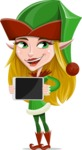 Female Christmas Elf Cartoon Vector Character - Presenting a Tablet