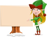 Female Christmas Elf Cartoon Vector Character - Presenting on a Blank Whiteboard for Christmas