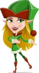 Female Christmas Elf Cartoon Vector Character - Presenting with Both Hands