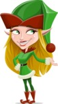 Female Christmas Elf Cartoon Vector Character - Presenting