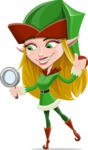 Female Christmas Elf Cartoon Vector Character - Searching
