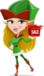 Female Christmas Elf Cartoon Vector Character - Shopping for Gifts