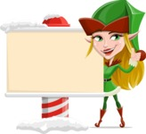 Female Christmas Elf Cartoon Vector Character - Showing a Blank Christmas Sign