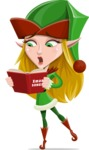 Female Christmas Elf Cartoon Vector Character - Singing Christmas Songs