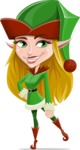 Female Christmas Elf Cartoon Vector Character - Smiling