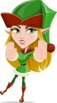 Female Christmas Elf Cartoon Vector Character - Stopping with Hands