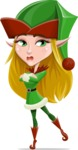 Female Christmas Elf Cartoon Vector Character - Waiting with Crossed Hands