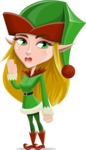 Female Christmas Elf Cartoon Vector Character - Waving for Goodbye with a Hand