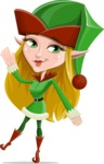 Female Christmas Elf Cartoon Vector Character - Waving
