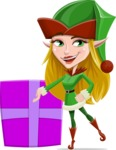 Female Christmas Elf Cartoon Vector Character - With a Big Christmas Present
