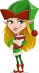 Female Christmas Elf Cartoon Vector Character - With a Book