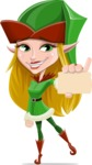 Female Christmas Elf Cartoon Vector Character - With a Business Card