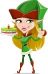 Female Christmas Elf Cartoon Vector Character - With a Cake for Christmas