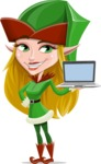 Female Christmas Elf Cartoon Vector Character - With a Computer