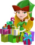 Female Christmas Elf Cartoon Vector Character - With a Lot of Presents