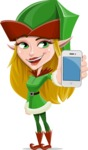Female Christmas Elf Cartoon Vector Character - With a Mobile Phone