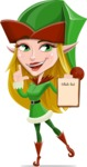 Female Christmas Elf Cartoon Vector Character - With a Wish List