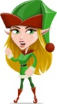 Female Christmas Elf Cartoon Vector Character - With Angry Face