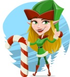 Female Christmas Elf Cartoon Vector Character - With Beautiful Snow Background Concept